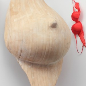 Giant Boob made by CNC wood routing for Artist Beverley Chapelhow